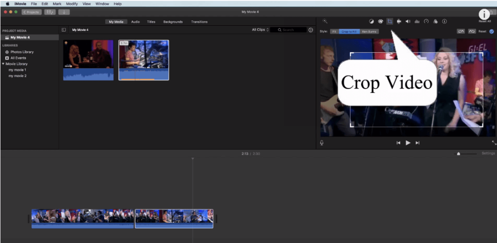 how to resize a video in imovie